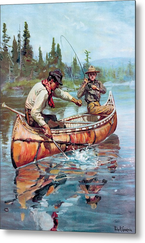 Fishing Metal Print featuring the painting Two Fishermen In Canoe by Phillip R Goodwin