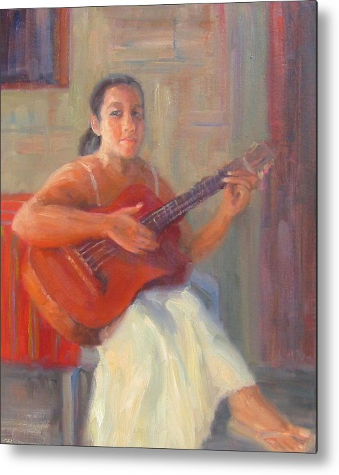 Honduras Metal Print featuring the painting La Guitarista by Bunny Oliver