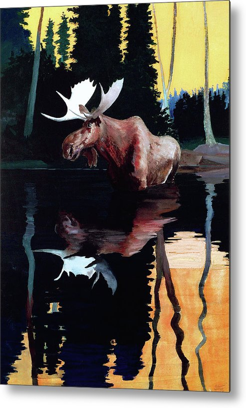Moose Metal Print featuring the painting Bull Moose by Robert Wesley Amick