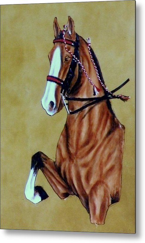 Horses Metal Print featuring the painting Saddlebred by Lilly King