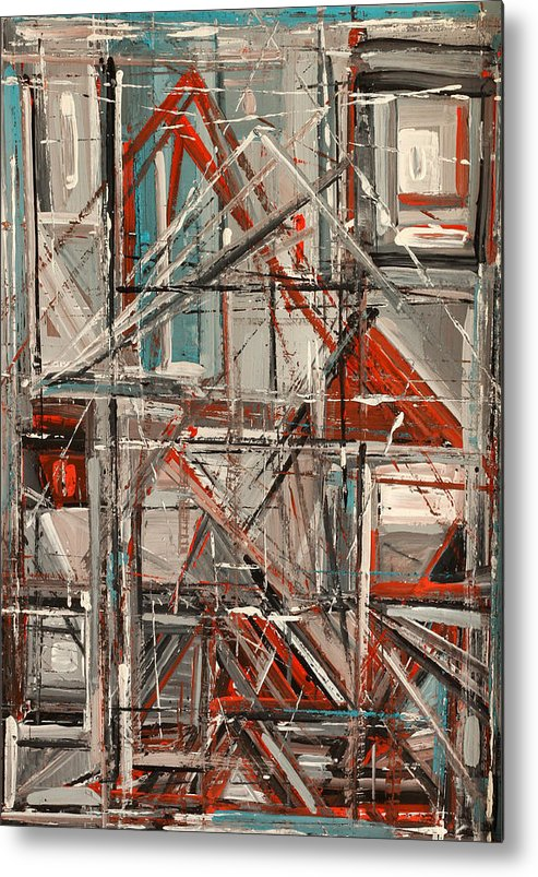 Abstract Metal Print featuring the painting City by Natia Tsiklauri