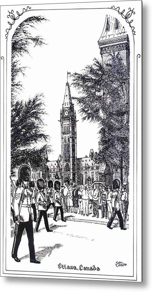 Cityscape Metal Print featuring the mixed media Changing Of The Guard Ottawa 1995 by John Cullen