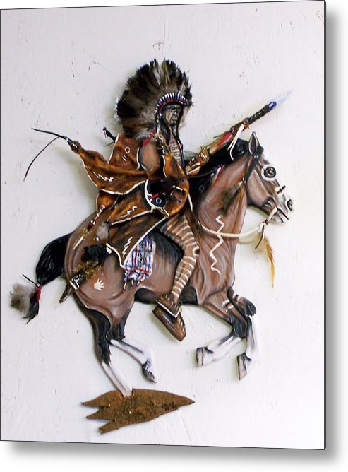 Horses Metal Print featuring the painting Galloping Along by Lilly King