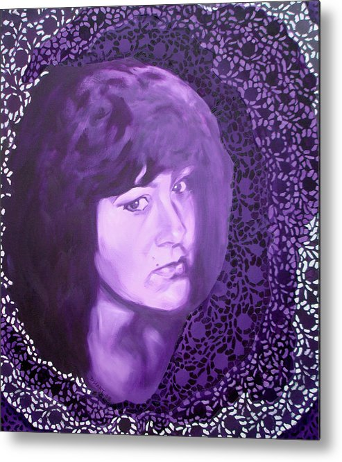 Portrait Metal Print featuring the painting Purple And Lace by Davinia Hart