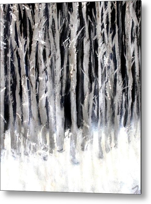 Forest Metal Print featuring the painting Silver Trees by Michela Akers