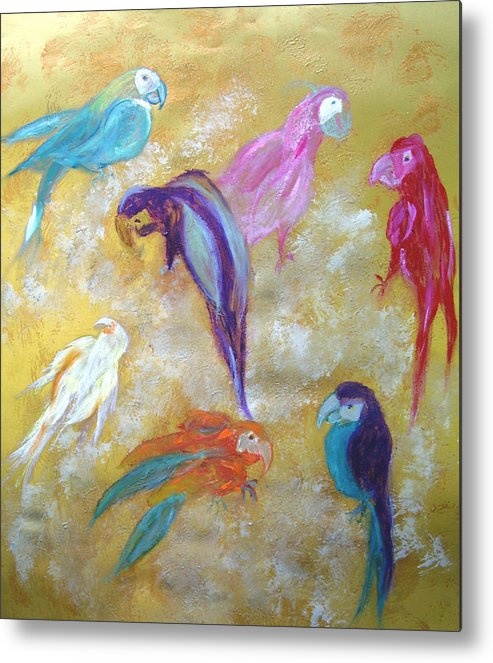 Exotic Metal Print featuring the painting All Dressed Up - Parrots by Michela Akers