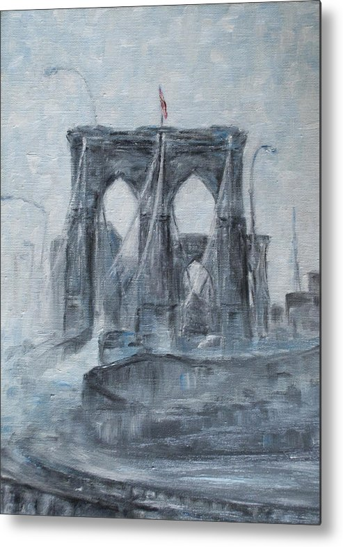 Brooklyn Metal Print featuring the painting Brooklyn Bridge by Natia Tsiklauri