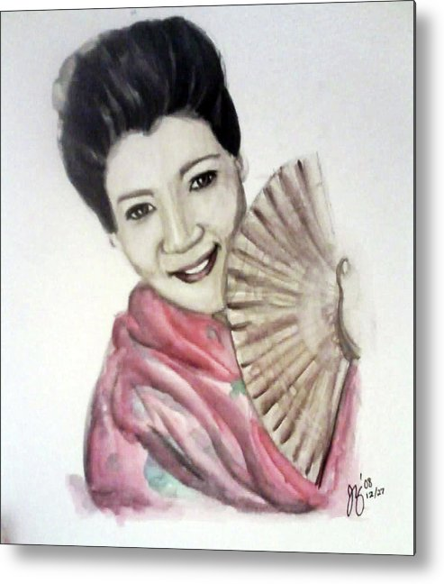 Woman Metal Print featuring the painting Geisha by Jennifer Zhao