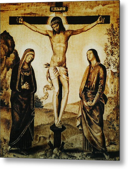 Dino Muradian Metal Print featuring the pyrography The Crucifixion by Dino Muradian