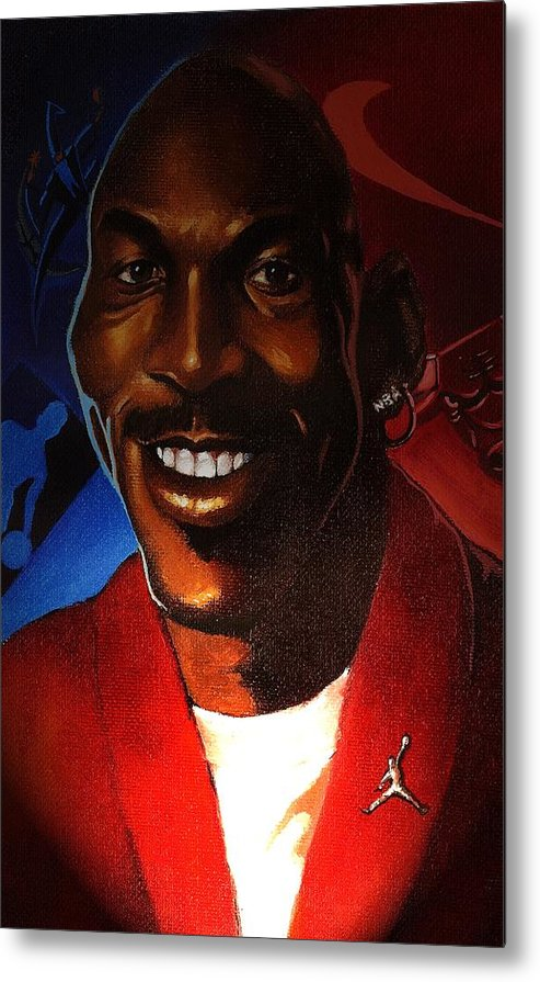 Caricature-portrait Metal Print featuring the painting Airness by Raphael Sanabria