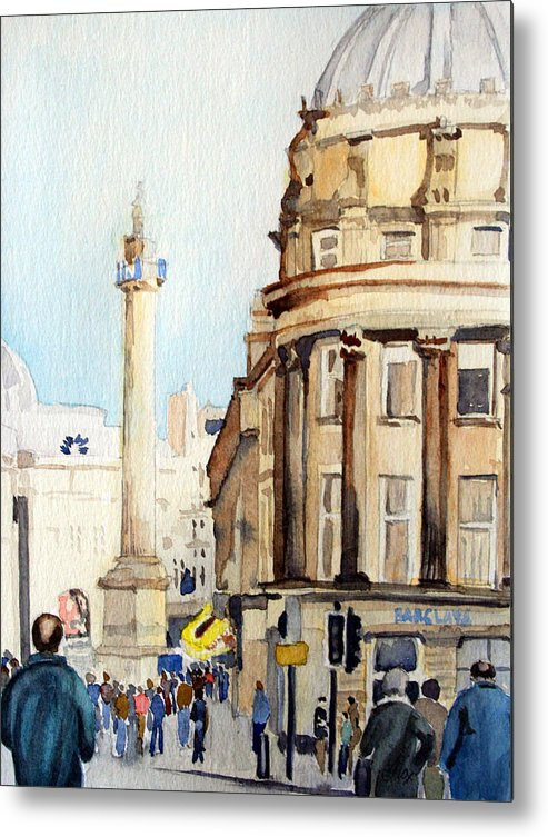 City. Newcastle. England. Metal Print featuring the painting Grainger Monument. Newcastle Upon Tyne by John Cox