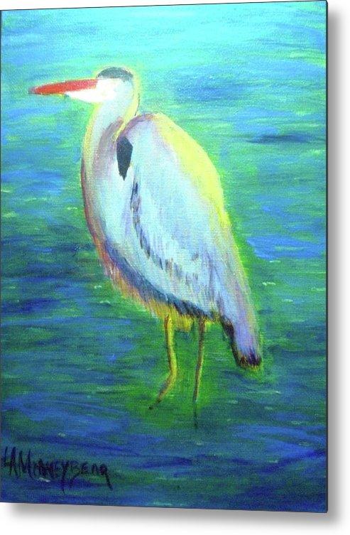 Bird Metal Print featuring the painting Heron by Lauren Mooney Bear