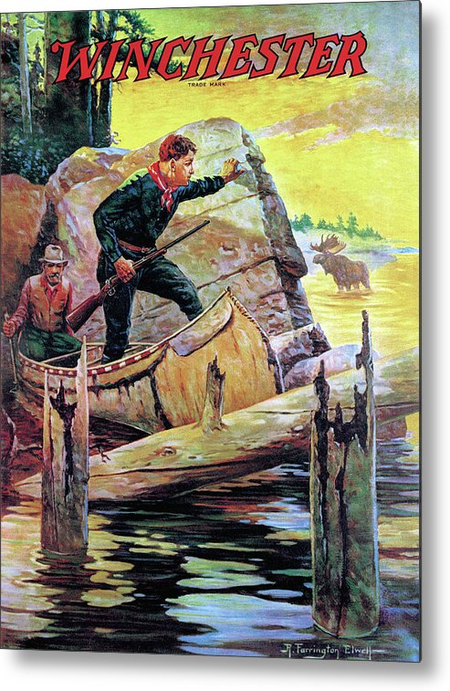 Canoe Metal Print featuring the painting Man And Guide In Canoe by R Farrington Elwell