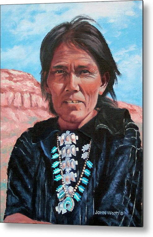 Navajo Indian Southwestern Monument Valley Metal Print featuring the painting Thunderbirds by John Watt