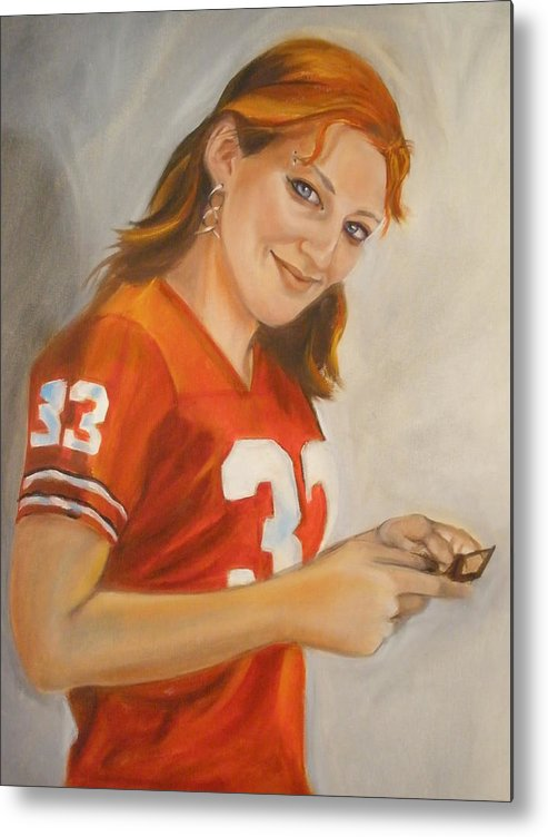 People Oil Portraits Metal Print featuring the painting Portrait Of Ellie by Kaytee Esser