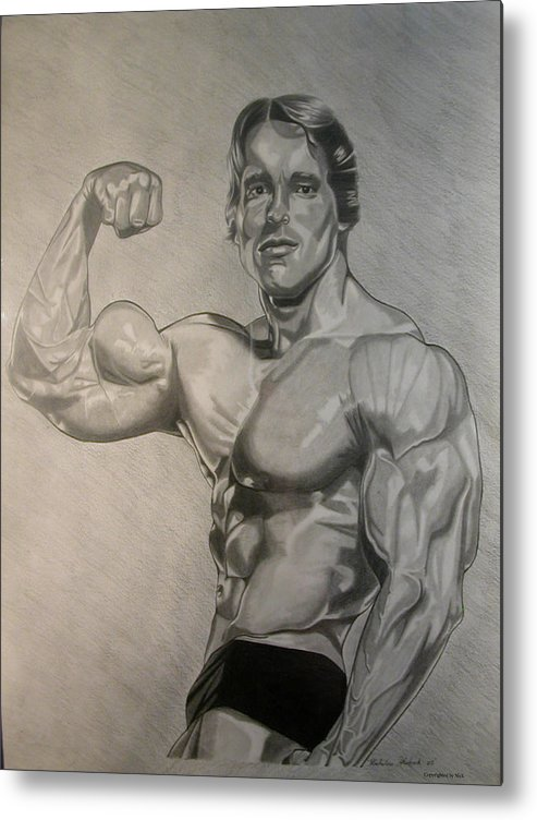 Pencil Metal Print featuring the drawing Arnold by Nick H
