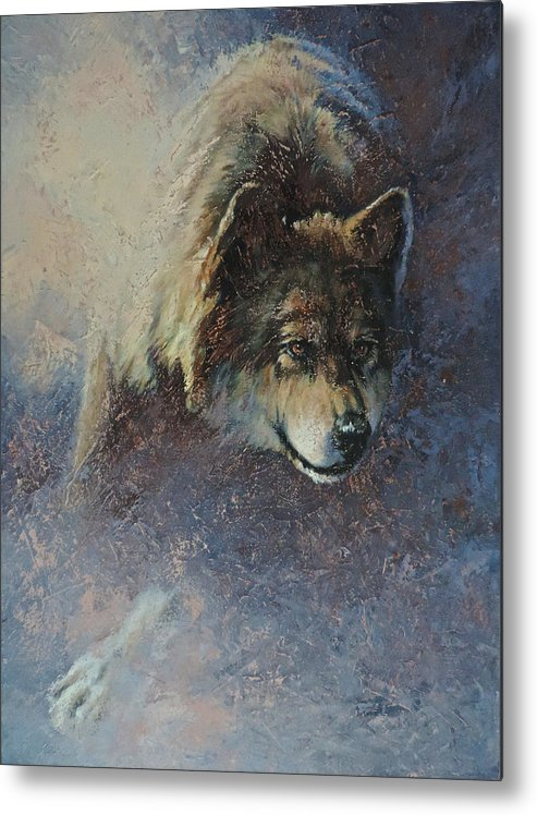 Wolves Metal Print featuring the painting Locked On Target by Mia DeLode