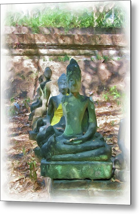 Buddhism Metal Print featuring the painting Wat Umong 3 by Bates Clark