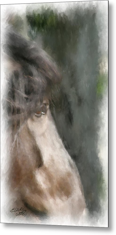 Horse Metal Print featuring the painting Misty Morn by Elzire S