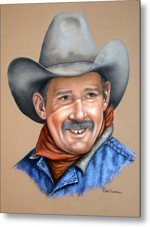 People Metal Print featuring the painting Happy Cowboy by Deb Owens-Lowe