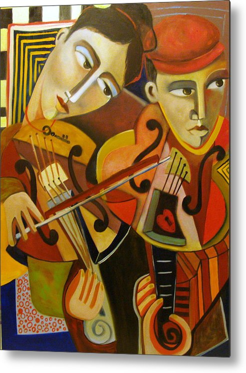Music Violins Romance Man Woman Metal Print featuring the painting Duo Romantico by Niki Sands