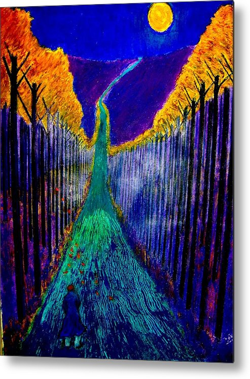Road Metal Print featuring the painting Night Train by Kent Whitaker