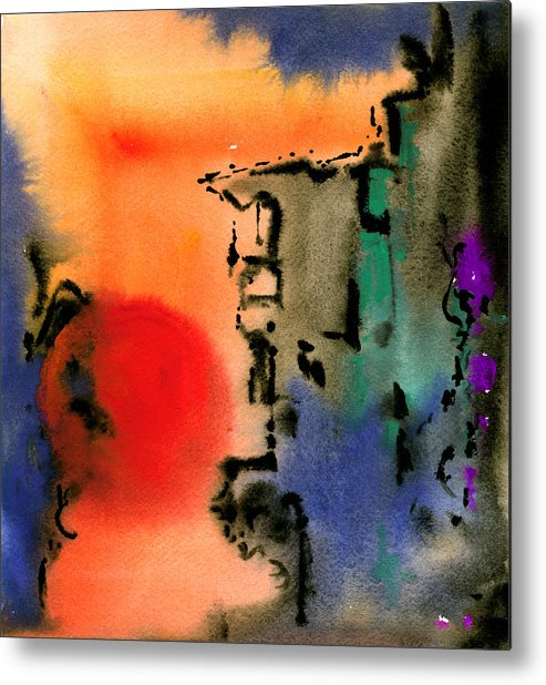 Watercolor Prints Abstract Painting Watercolor Painting Modern Print Contemporary Print Gouache Metal Print featuring the painting Sunset At Nikko by Ralf M Broughton