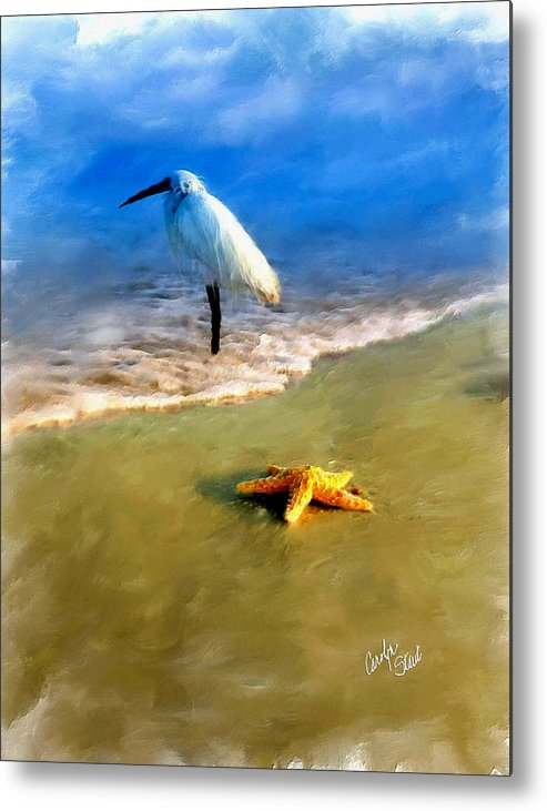 Egret Metal Print featuring the digital art Storm Watcher by Carolyn Staut