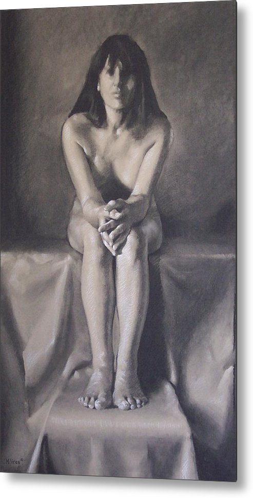Charcoal Metal Print featuring the drawing Hands by Michael Vires