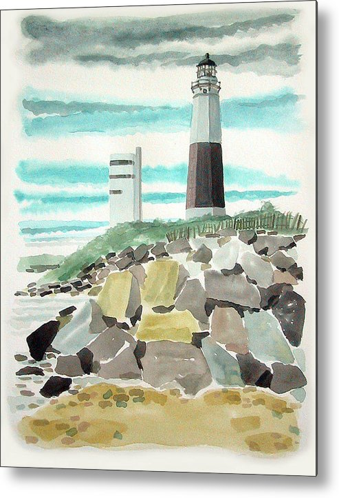 Metal Print featuring the painting Montauk Lighthouse by Ralph Papa