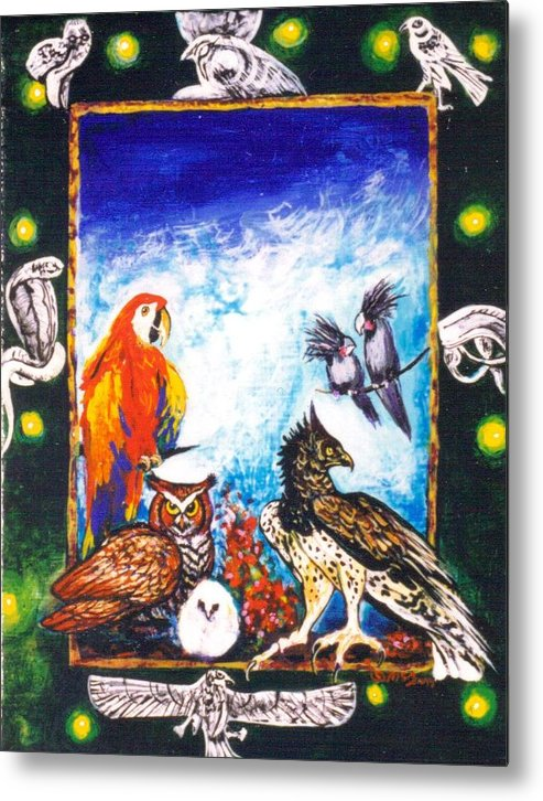 Metal Print featuring the painting Parrot And Eagle by Christine McGinnis