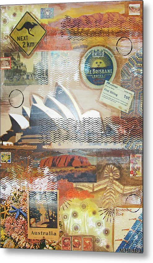 This Is One Of 18 Collages Metal Print featuring the mixed media Australia by Leigh Banks