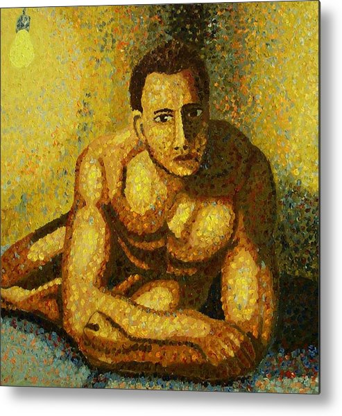 Nude Metal Print featuring the painting Naked by Mats Eriksson