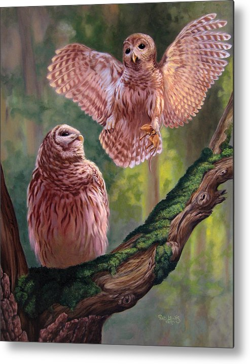 Owls Metal Print featuring the painting Bringing Home Dinner by Pat Lewis