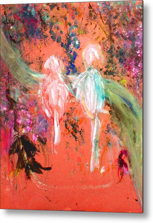 Abstract Metal Print featuring the painting Pastel Parrots In Abstraction by Michela Akers