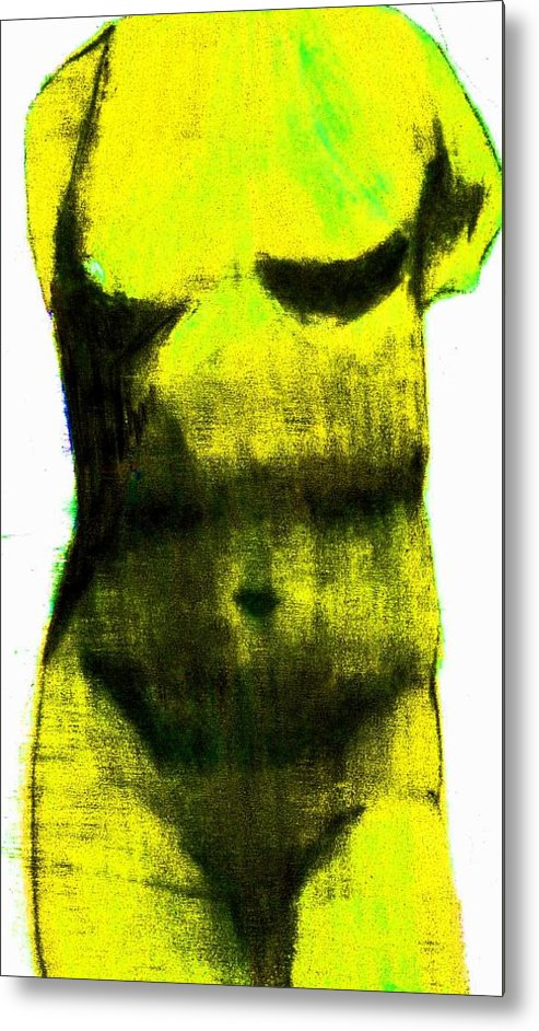 Yellow Metal Print featuring the drawing Yellow Aphrodite by Jennifer Ott
