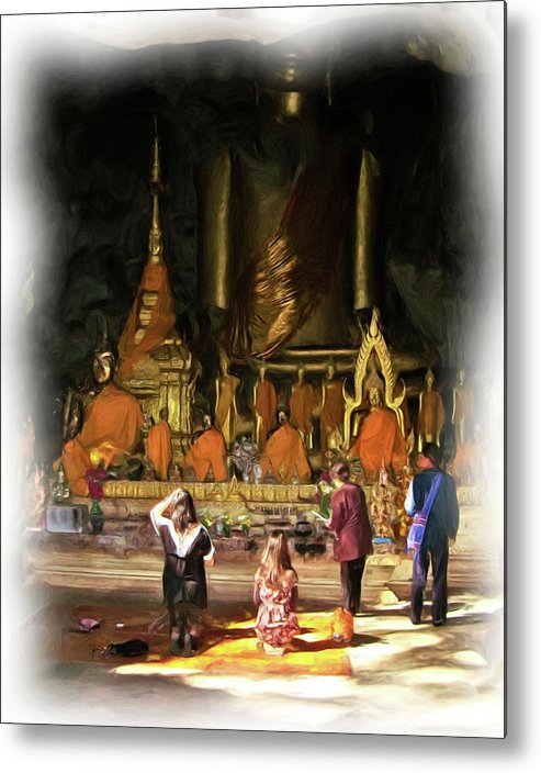 Buddhism Metal Print featuring the painting Cave Of The Bat Temple 1 by Bates Clark