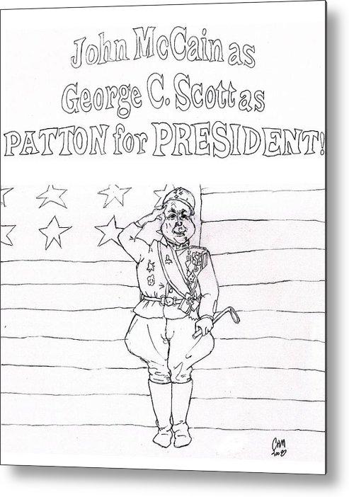 Political Cartoon Satire Presidential Race Metal Print featuring the drawing Propaganda Propagenda by Cartoon Hempman
