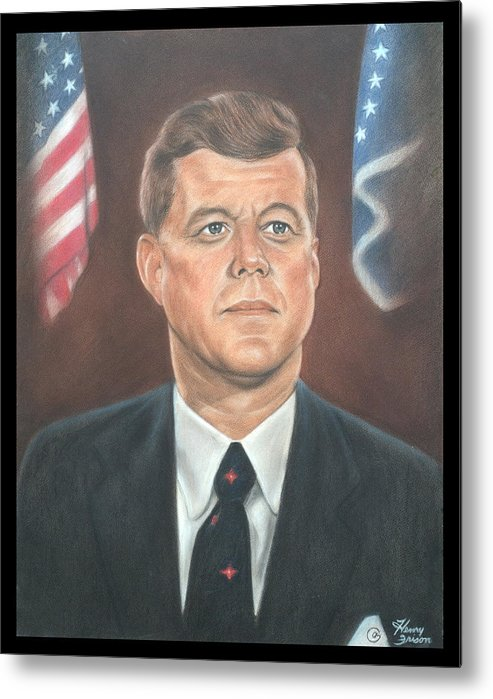 People Metal Print featuring the drawing J.f.k by Henry Frison