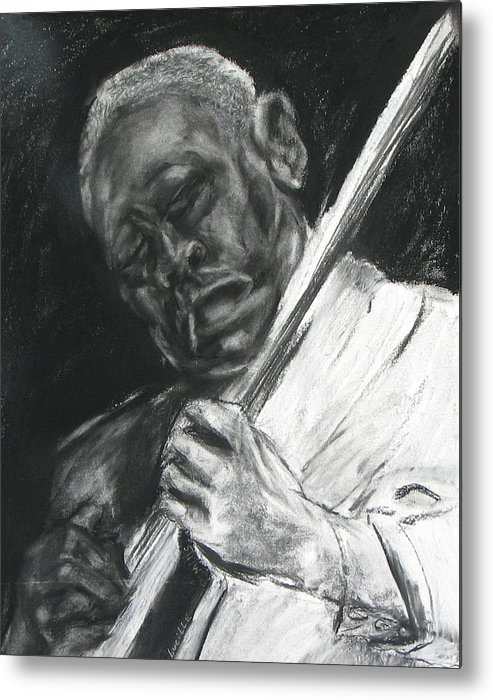 Man Playing Guitar Metal Print featuring the drawing The Guitar Player by Patrick Mills