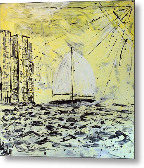 Abstract Metal Print featuring the painting Sail And Sunrays by J R Seymour