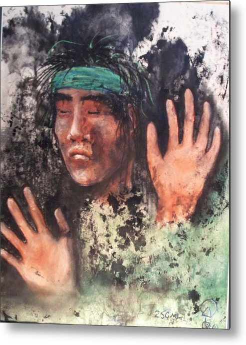 Native American Metal Print featuring the painting 250ml by Ernie Scott- Dust Rising Studios