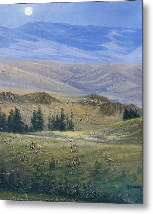 Landscape Metal Print featuring the painting Evening Near Kamloops by Imagine Art Works Studio