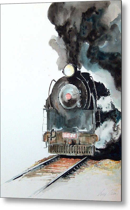 Trains Metal Print featuring the painting Smokin by Greg Clibon