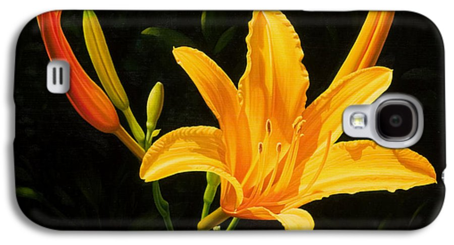 Floral Galaxy S4 Case featuring the painting Monikas Lily by Gary Hernandez