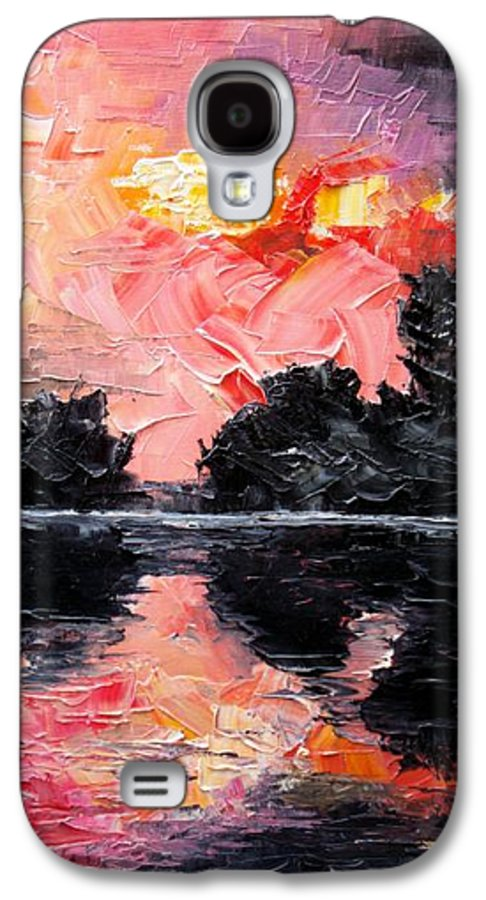 Lake After Storm Galaxy S4 Case featuring the painting Sunset. After Storm. by Sergey Bezhinets