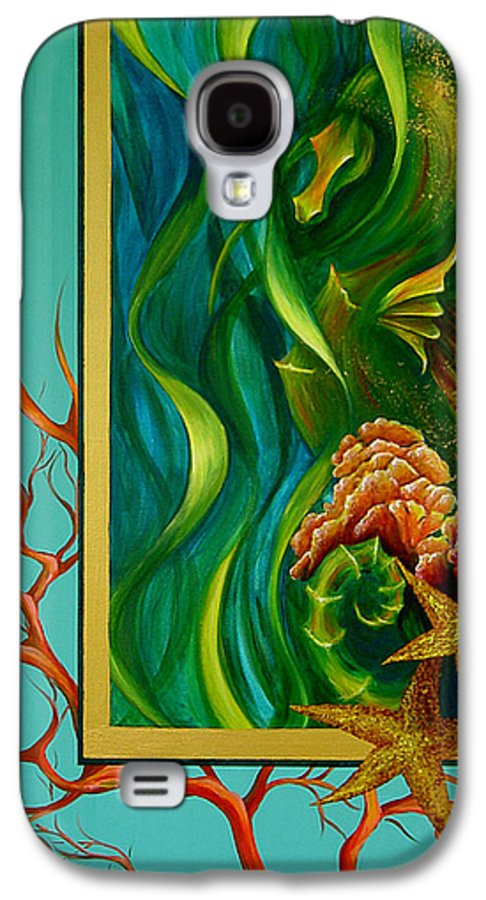Ocean Sea Seahorse Coral Underwater Starfish Beach Tropical Layered Collage Galaxy S4 Case featuring the painting Aquatica by Dina Dargo