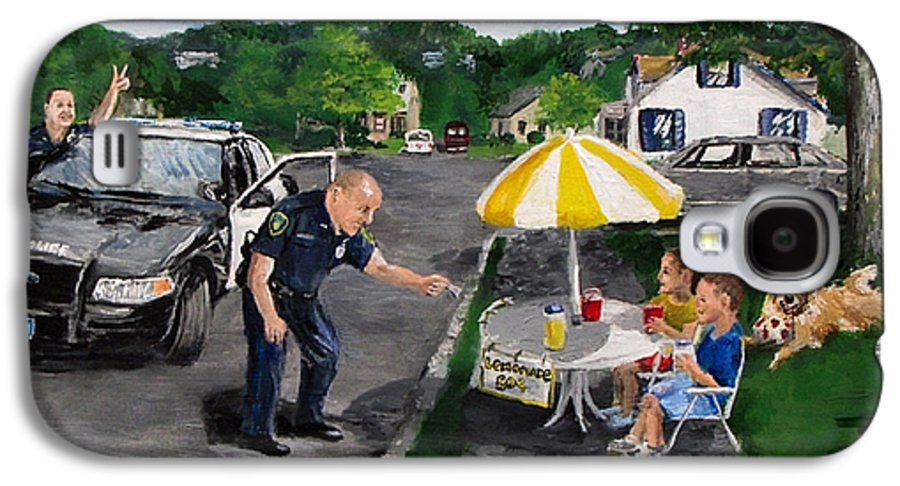 Police Galaxy S4 Case featuring the painting The Lemonade Stand by Jack Skinner