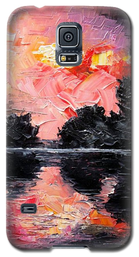 Lake After Storm Galaxy S5 Case featuring the painting Sunset. After Storm. by Sergey Bezhinets