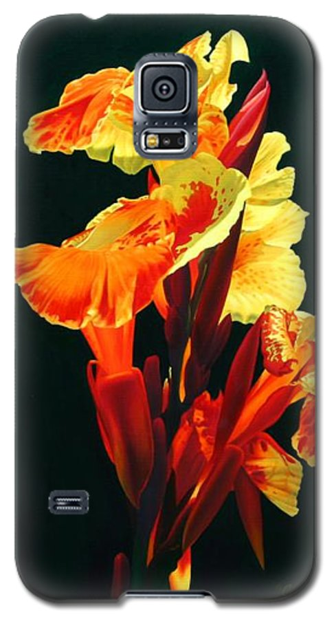 Flowers Galaxy S5 Case featuring the painting Yellow Cannas by Gary Hernandez